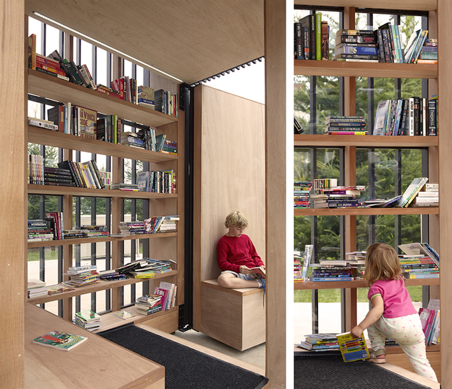 story pod is a moveable reading nook for the community
