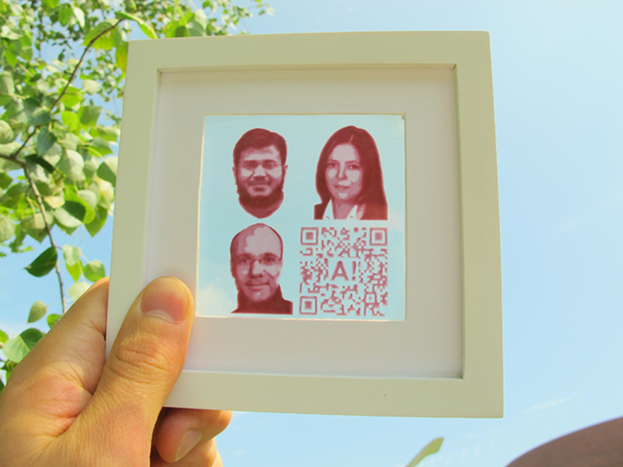 A custom image of the Finnish researchers made from solar cells