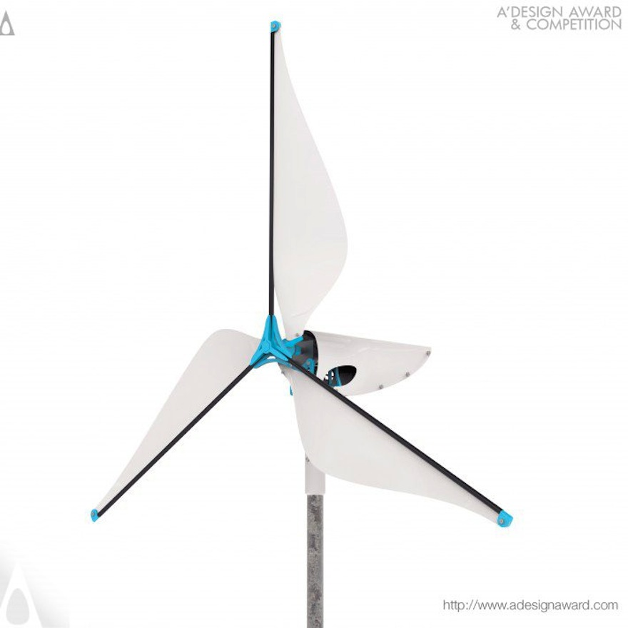 Wireframe Affordable wind turbine by Ben Koros