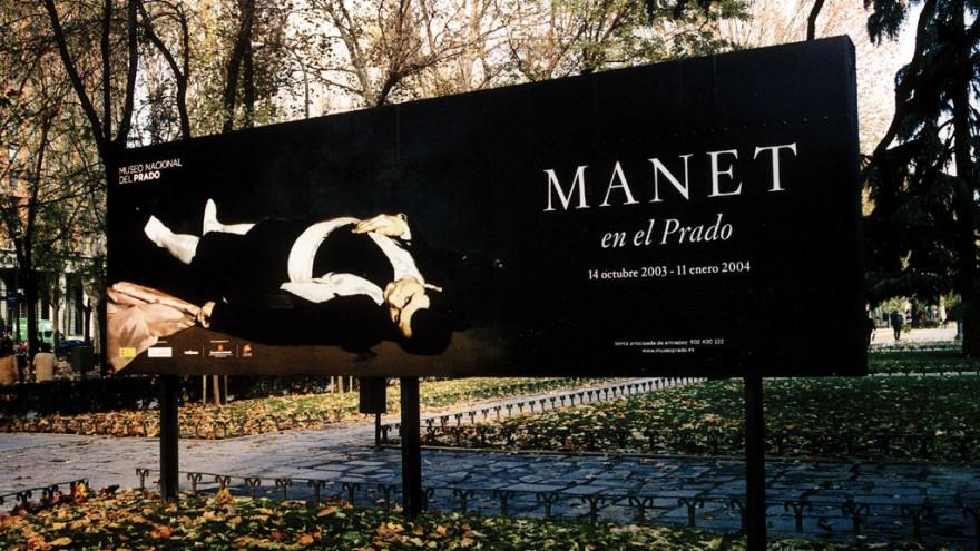 Manet exhibition billboard for Prado Museum in Barcelona, Spain. Courtesy of Fer