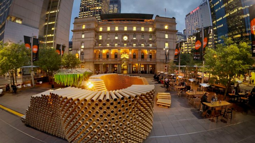 Cardboard tube pavilion. Photo via inhabitat.