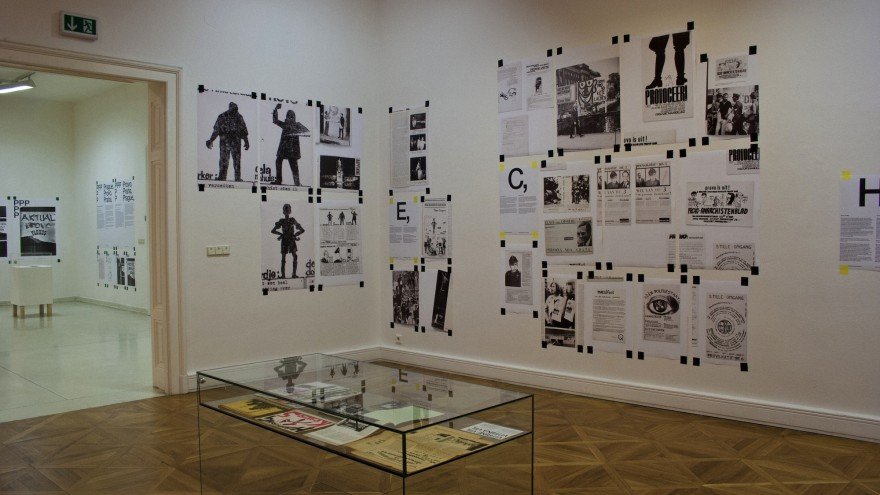 Exhibition (installation view, detail), curated and designed by Experimental Jetset for the Moravian Gallery, a museum in Brno (Czech Republic). Image: Moravian Gallery.