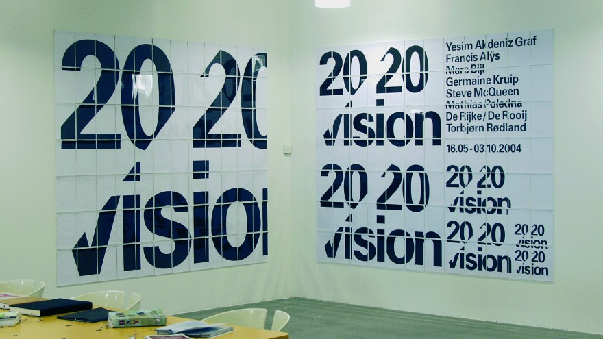 '20/20 Vision' / Title wall (installation view, detail) designed for SMCS (Amsterdam, NL), as part of the overall signage and graphic identity.