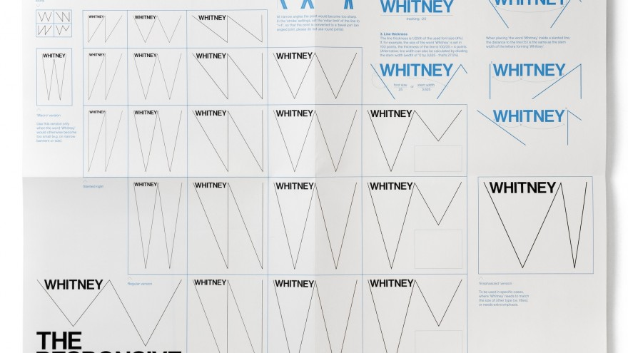 Chart displaying a selection of possible variations of the 'Responsive W'.  The folded A2-sized poster that was inserted in the 220-page graphic manual that Experimental Jetset created for the in-house design team of the Whitney.