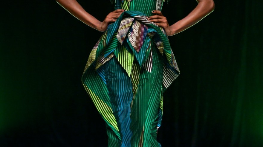 Triangular cutouts and detailing on a David Tlale outfit.