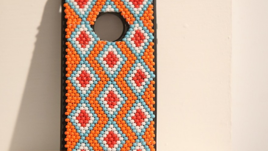Emerging Creative Vukile Batyi's beaded iPhone cover.
