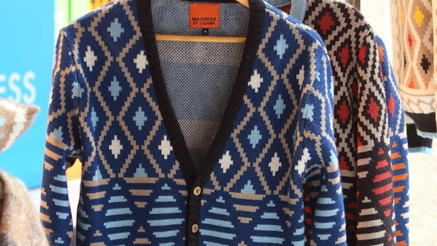 Cardigan by Laduma Ngxokolo on the Mohair SA stand.