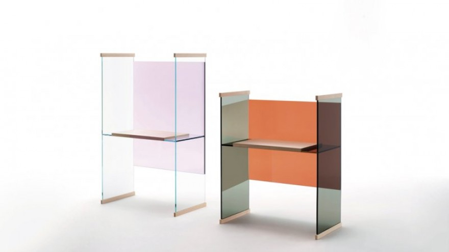 Diapositive high and low desk by the Bouroullec Brothers for Glas Italia.