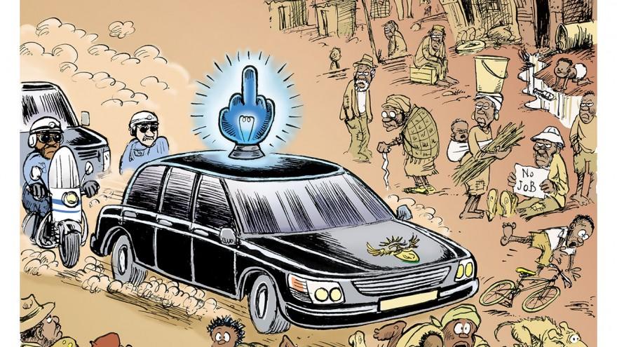 'Blue Light Brigade' featured in Democrazy: SA's Twenty-Year Trip by Zapiro. Image: Zapiro.