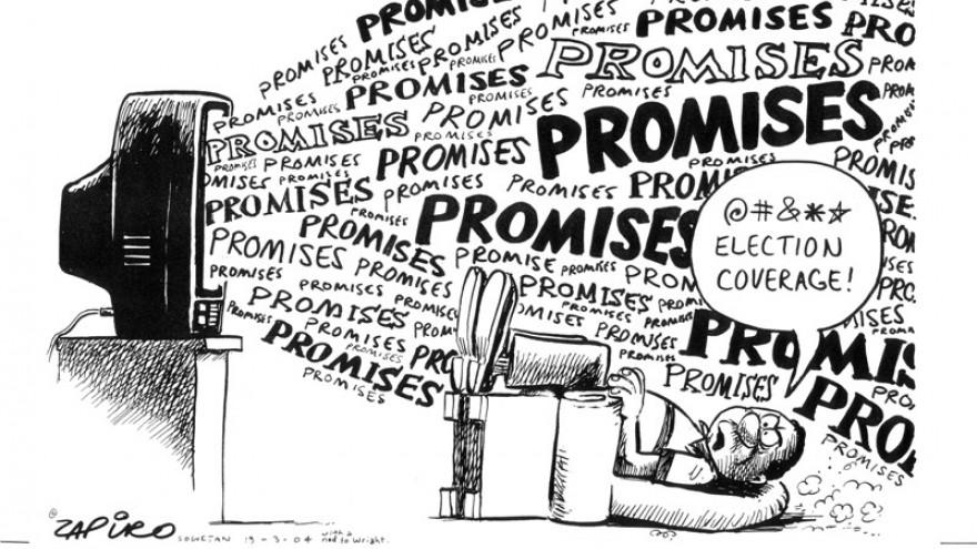 'Promises' featured in Democrazy: SA's Twenty-Year Trip by Zapiro. Image: Zapiro.