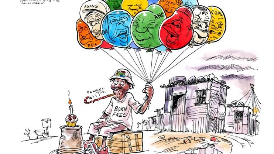 Cartoon featured in Democrazy: SA's Twenty-Year Trip by Zapiro. Image: Zapiro.