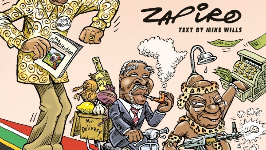 Front cover of Cartoon Democrazy: SA's Twenty-Year Trip by Zapiro. Image: Jacana.