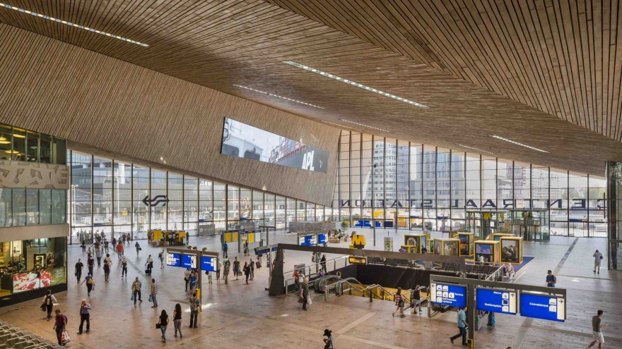 The renovated concourse of Rotterdam Central Station stands out for its intricate beauty.