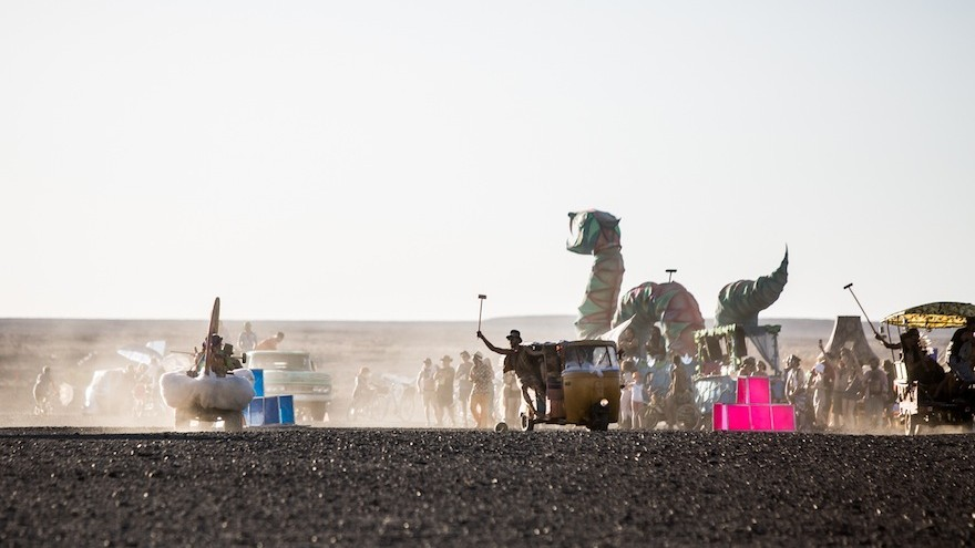 Mutant vehicles play polo.