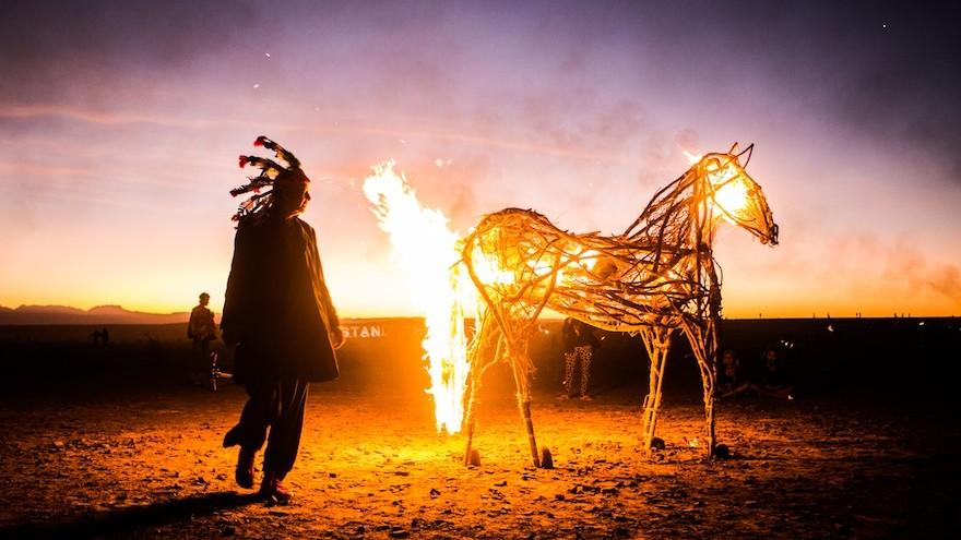 A burning horse.