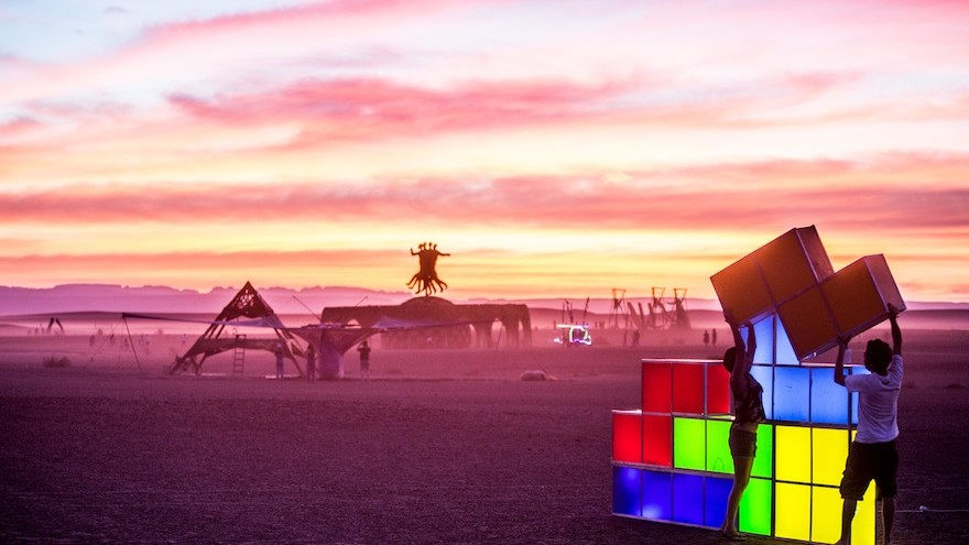 Rubix cubes with the Sanclan in the distance.