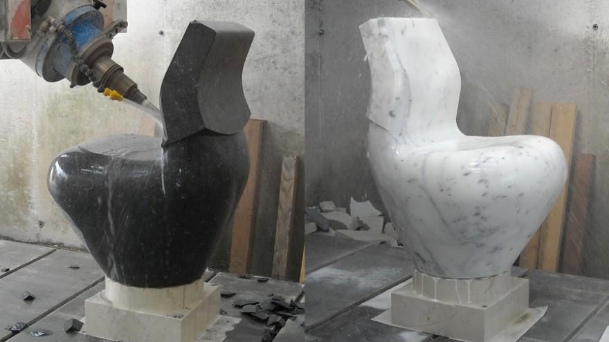 Black and White Swan being machined using CNC on marble. Photo: Satyendra Pakhalé Design Studio.