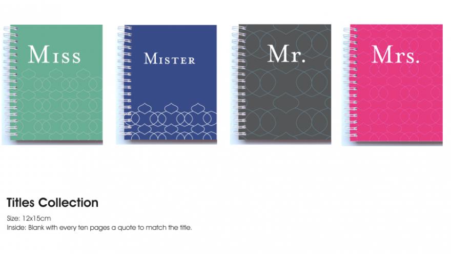 Titles notebooks by Miss A Schwarzie.
