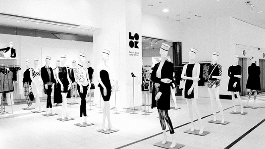 Fall 2013 campaign for Saks Fifth Avenue, , store window display by Michael Bierut.