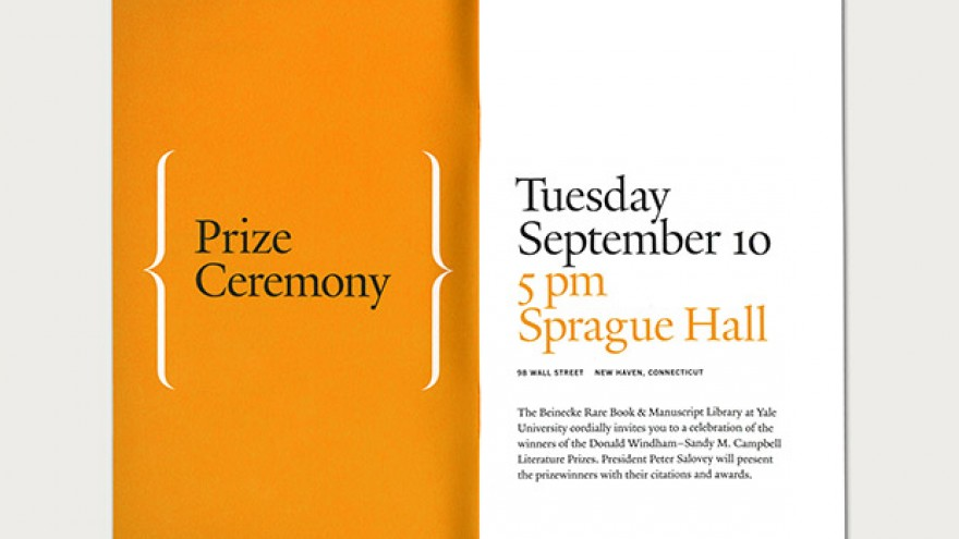 Windham Campbell Prizes identity, spread from the Festival programme by Michael Bierut.