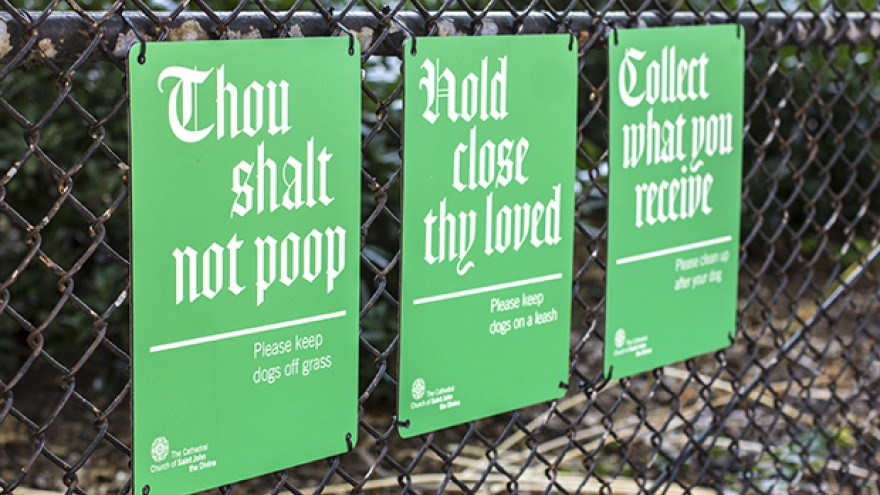 Signage for the Cathedral Church of St. John the Divine by Michael Bierut.