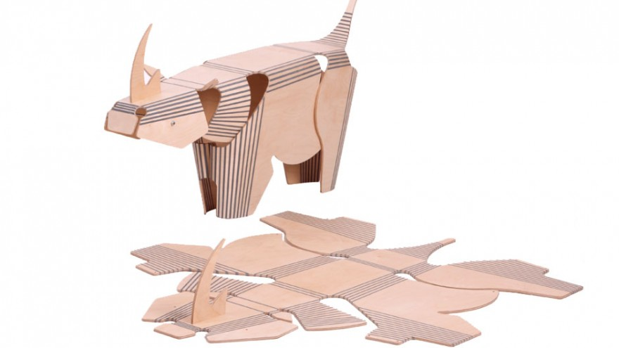 The Stratflex Rhino made from flat-pack plywood, timber and rubber