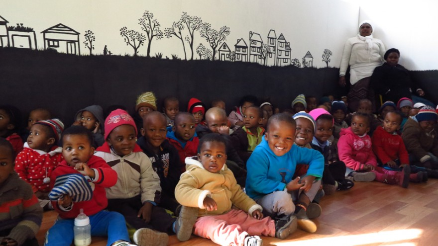 First day inside the rebuilt Gege crèche in Langa. Image: Sandy Greenway.