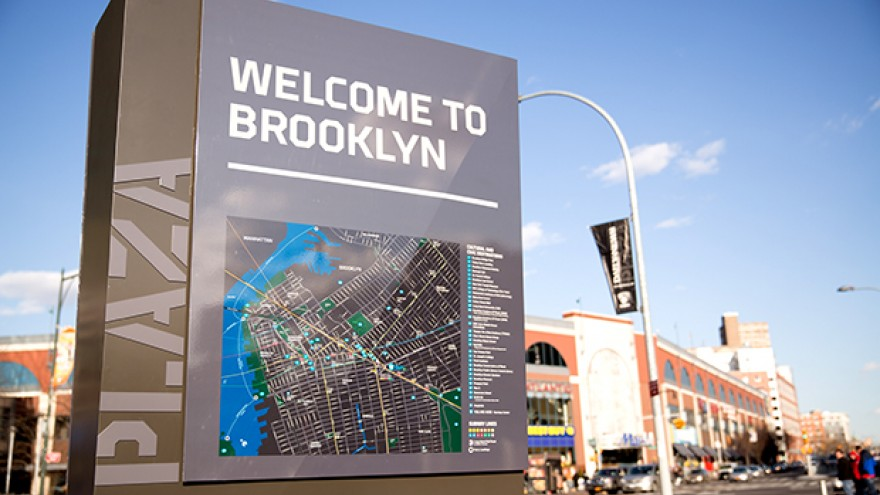 Brooklyn Centre signage, wayfinding and environmental graphics by Michael Bierut.