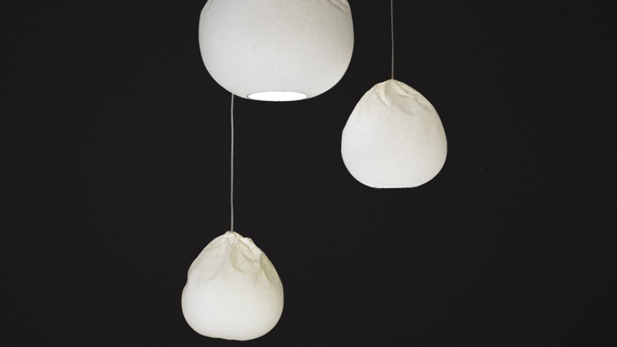 Semi-Wrinkled Washi lamp collection by Nendo.