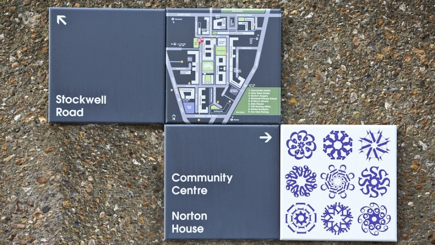 Wayfinding system for Stockwell Park Estate development in Lambeth, south London by Hat-trick.