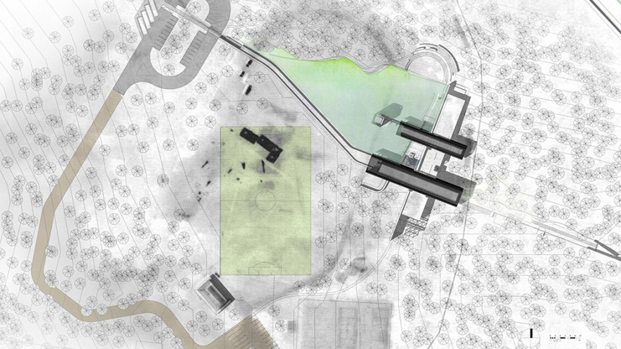 Site plan of the proposed Karura Forest Environmental Education Centre in Kenya by Boogertman + Partners Architects.