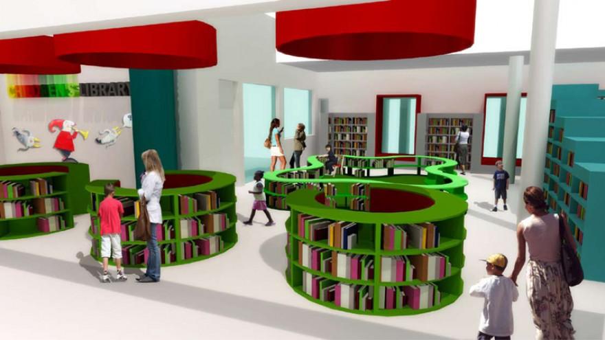 A view of the toddler zone through the circular entrance bookshelves. Image: Y Tsai Design.