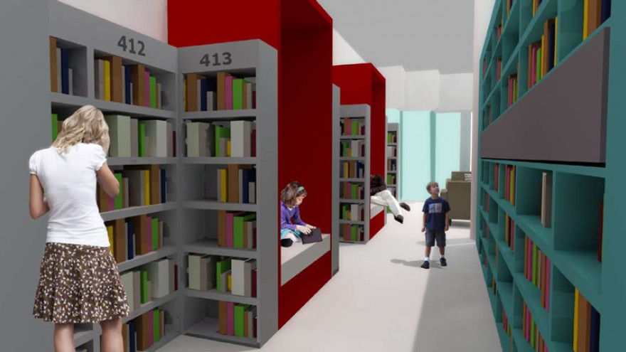Reading booths along the windows create a more private reading experience. Image: Y Tsai Design.