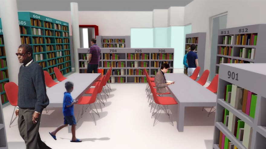 To cater for teens who might need to work on projects or study, Tsai proposes a reading room set up with long work tables. Image: Y Tsai Design.