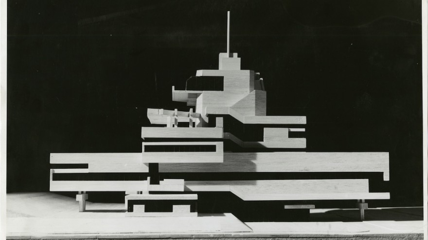 Photo of the model for the Town Hall of Terneuzen, the Netherlands, 1962, collection Het Nieuwe Instituut, BROX f1324, Van den Broek en Bakema Architects