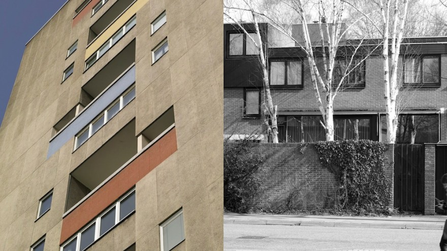 Split screen images of Jaap Bakema's work (Berlin, Eindhoven) by Johannes Schwartz.