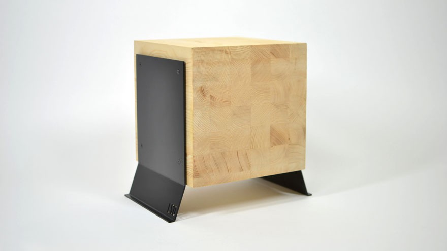 Butcher Block table in wood and black metal.