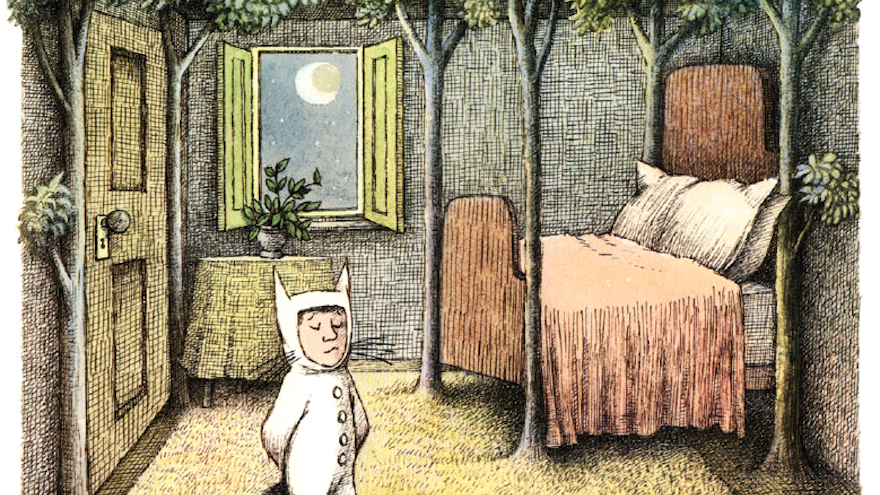 """Maurice Sendak's illustration work in """"Where the wild things are""""."""