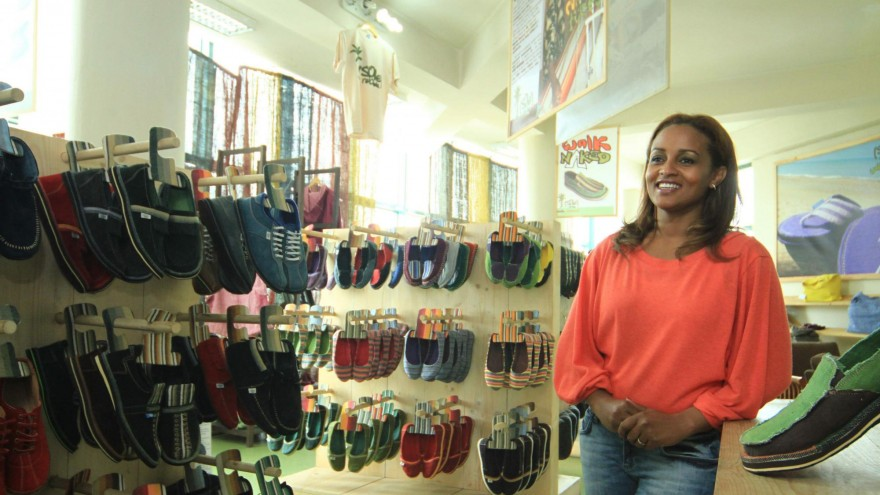 soleRebels founder Bethlehem Alemu is pictured in one of her stores.