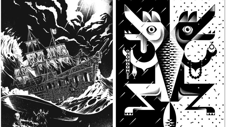 'The Flying Dutchman' by Hylton Warburton and 'Jakkals trou met wolf se vrou' by Jono Garrett.