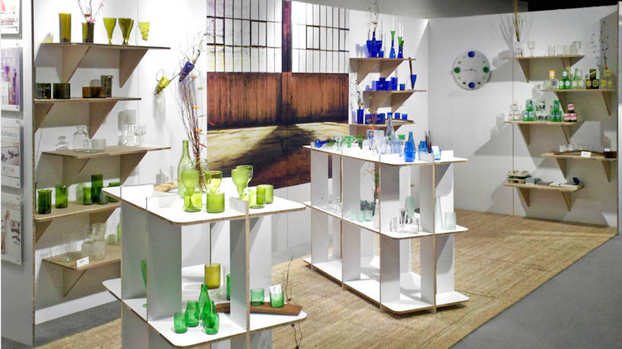Eco-products displayed on shelving made from Xanita X-board.