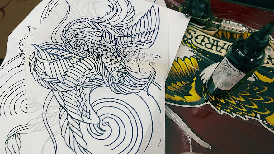 Design of the phoenix tattoo.