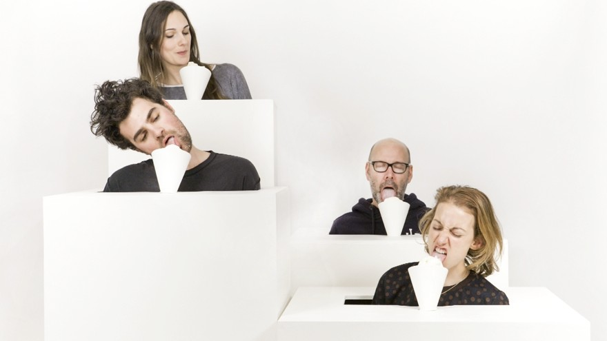 """""""Lickestra"""": a licking ice cream orchestra. Different sounds from different slurps. Image: ©emiliebaltz"""