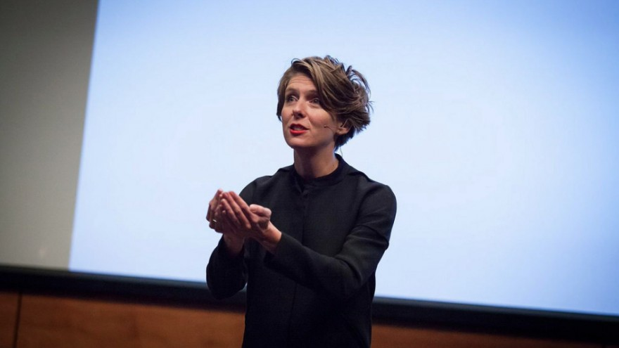 Emilie Baltz speaking at TEDxYouth Omaha in 2014: You are how you eat. Image: ©emiliebaltz