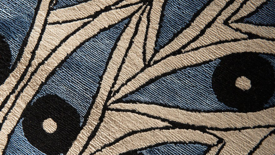 The Nazar design: these wool and silk rugs are handmade in Nepal from patterns drawn by French design Florian Pretet.