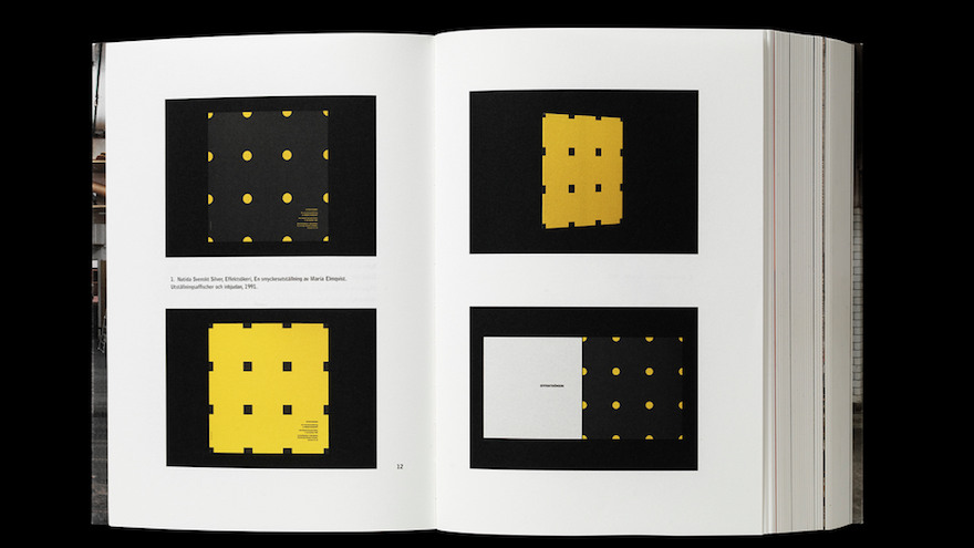 """Images from the pages of the book """"Grafisk design: Henrik Nygren"""", published by Swedish publishing house Orosdi-Back 2014. Presentation of work and memories, 1991–2013."""