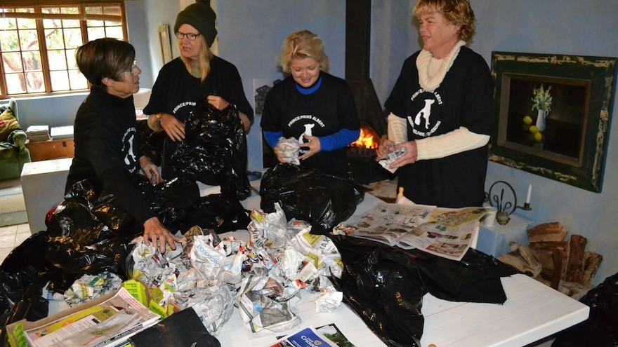 For its 67 minutes on Mandela Day Prince Albert Animal Welfare/Dieresorg (PADS) made beds for township dogs using dustbin bags and balls of newspaper