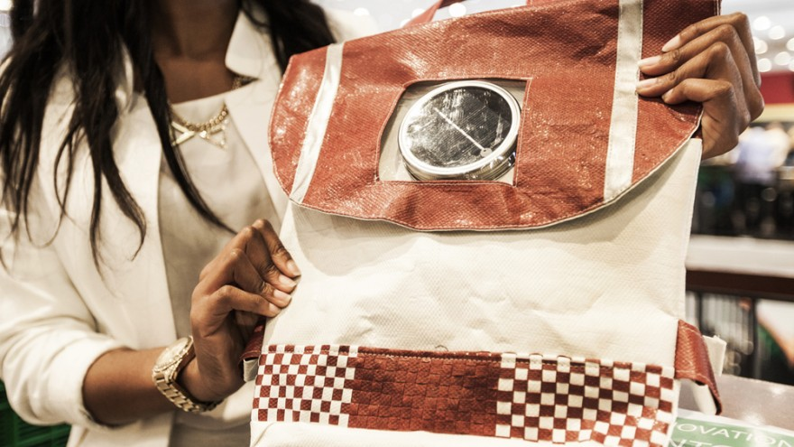 The Repurpose Schoolbag is made from recycled plastic bags