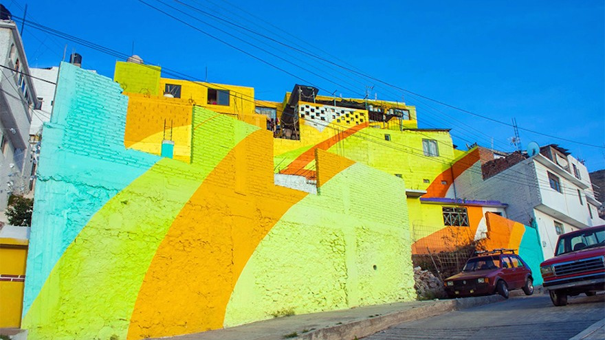Bright colours and hardwearing paint was used to avoid rapid deterioration.