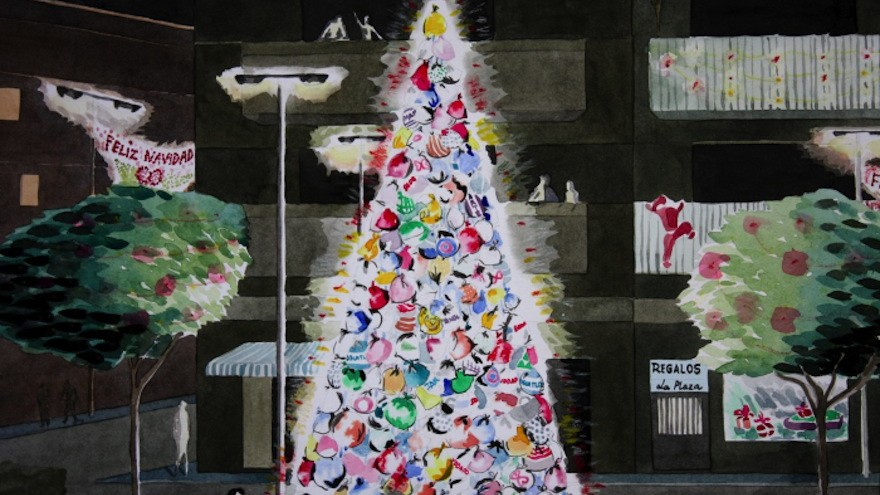 The consumerist Christmas tree, project by Luzinteruptus illustration by Marta Menacho